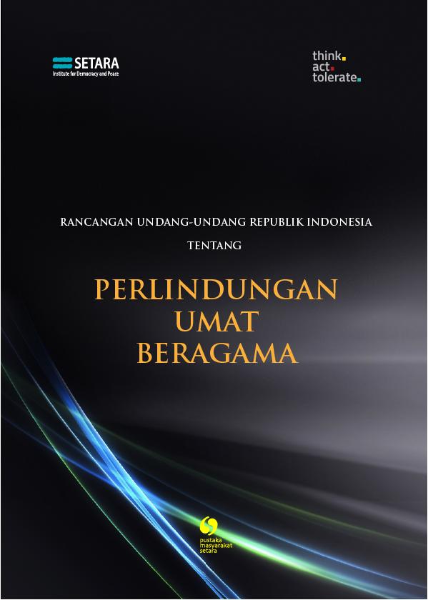 Draft Rancangan Undang-Undang Perlindungan Umat Beragama