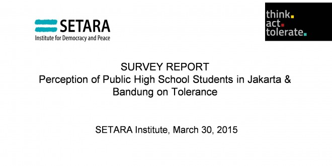 Perception of Public High School Students in Jakarta & Bandung on Tolerance