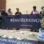 Aksi Solidaritas etnis Rohingya di depan Keduataan Myanmar. Sumber : BBC Indonesia