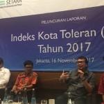 SETARA Institute meluncurkan laporan Indeks Kota Toleran tahun 2017 di Cikini, Jakarta (16/11/2017). Foto: SETARA Institute