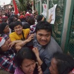 Indonesian supporters of Jakarta governor Basuki Tjahaja Purnama, also know as Ahok, push a gate at the Cipinang Prison where Jakarta governor Basuki Tjahaja Purnama is being prisoned in Jakarta on May 9, 2017. Jakarta's Christian governor was jailed for two years on May 9 after being found guilty of blasphemy, in a shock decision that has stoked concerns over rising religious intolerance in the world's most populous Muslim-majority nation. / AFP PHOTO / ADEK BERRYADEK BERRY/AFP/Getty Images INDONESIA-RELIGION-TRIAL-ISLAM