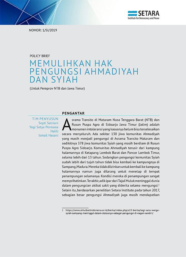 MEMULIHKAN HAK PENGUNGSI AHMADIYAH DAN SYIAH