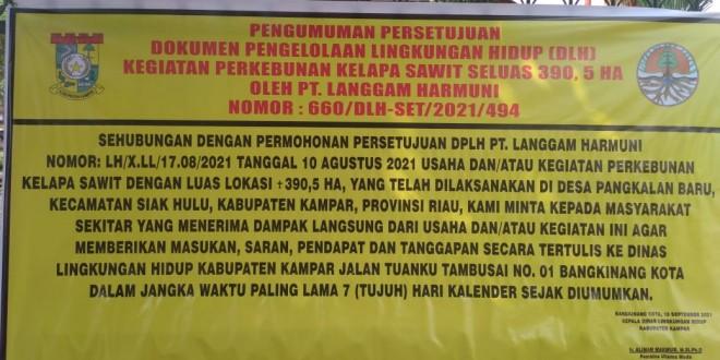 (Bahasa Indonesia) BUPATI KAMPAR WAJIB TOLAK IZIN PERKEBUNAN PT LANGGAM HARMUNI